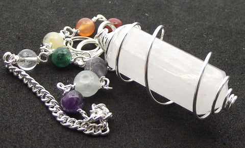 Selenite Double Terminated Chakra Pendulum Pendant - The Crystal Healing Shop