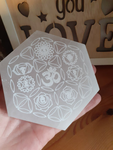 Hexagonal Selenite (Satin-Spar) Etched Chakra Charging Plate