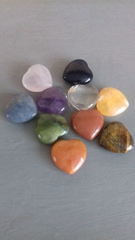 Set of 10 Gemstone Hearts