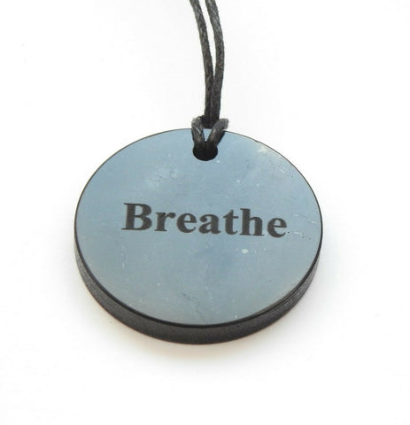 "Shungite ""Breathe"" Engraved Pendant"