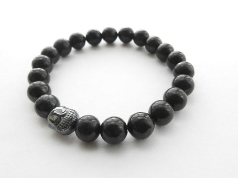 Ladies Shungite Buddha Bead Bracelet