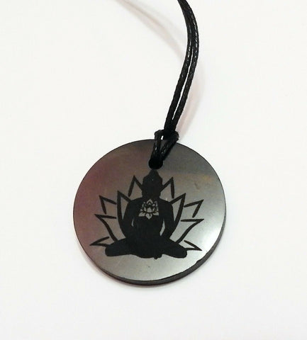 Shungite Buddha and Lotus Flower Pendant