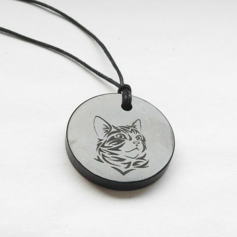 Shungite Cat Engraved Pendant