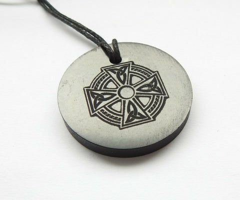 Shungite Celtic Cross Engraved Pendant