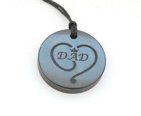 "Shungite ""Dad"" Engraved Pendant"