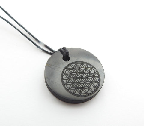 Shungite Flower of Life Engraved Pendant