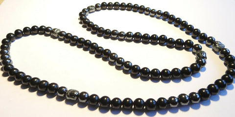 Shungite and Hematite Buddha Bead Necklace