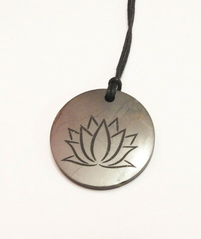Shungite Lotus Flower Pendant