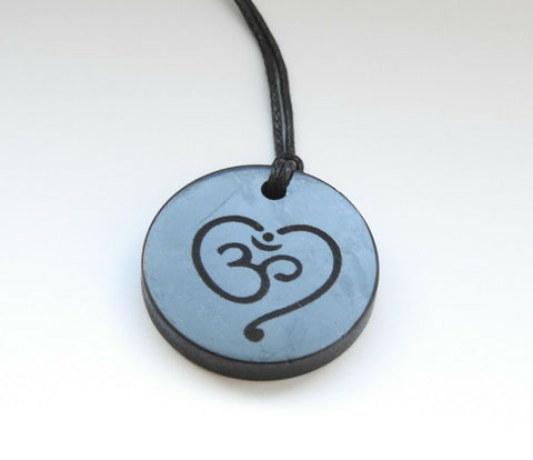 Shungite Om Love Engraved Pendant