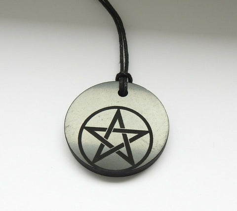Shungite Pentagram Engraved Pendant
