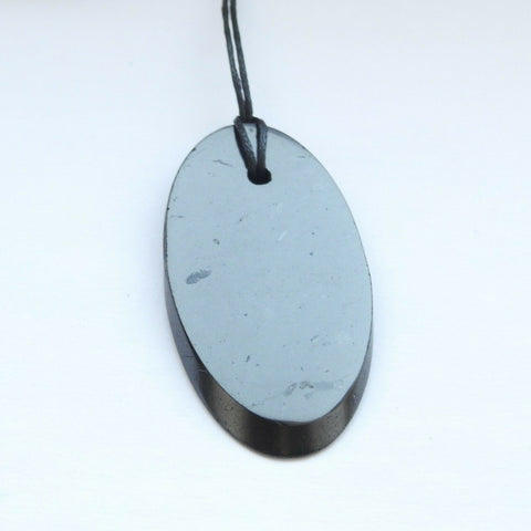 Large Shungite Plain Oval Pendant