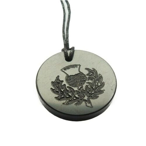 Shungite Scottish Thistle Engraved Pendant