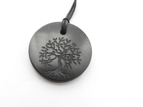 Shungite Tree of Life Engraved Circular Pendant