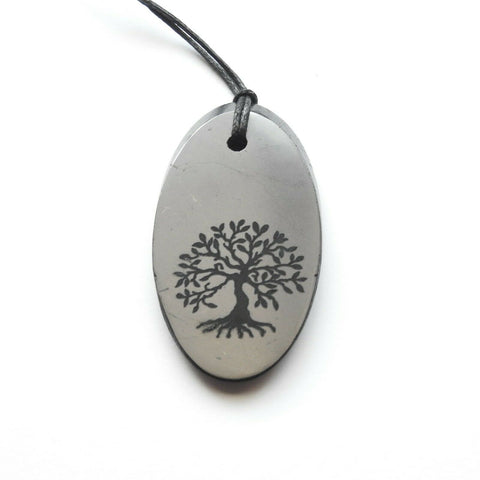 Shungite Tree of Life Engraved Oval Pendant