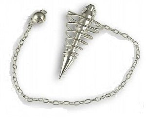 Silver Plated Brass Spiral Vortex Pendulum - The Crystal Healing Shop