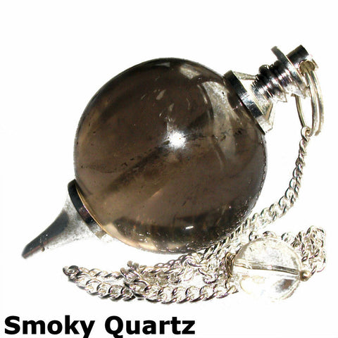 Smokey Quartz Sphere Dowsing Pendulum - The Crystal Healing Shop