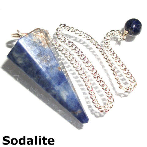 Sodalite Faceted Gemstone Dowsing Pendulum