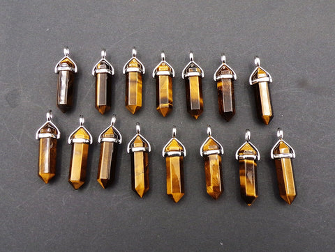 Tigers Eye Double Terminated Point Pendant