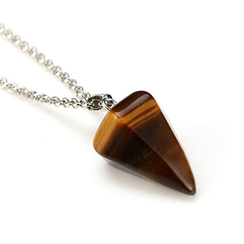 Tigers Eye Faceted Pendulum Pendant