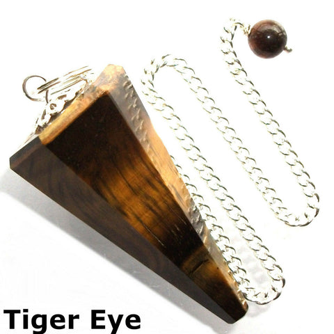 Tigers Eye Faceted Gemstone Dowsing Pendulum