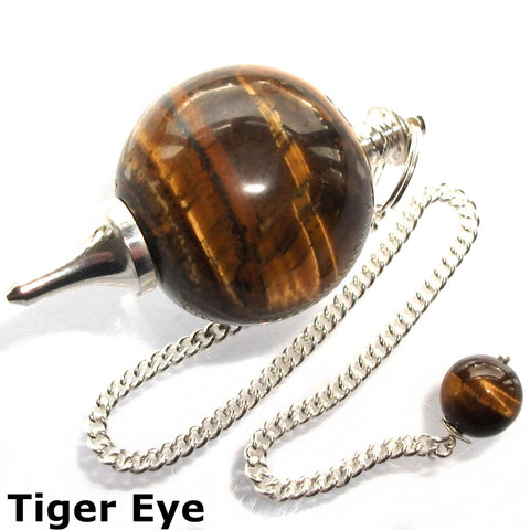 Tigers Eye Sphere Gemstone Dowsing Pendulum
