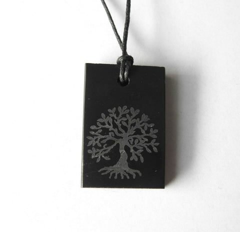 Shungite Tree of Life Engraved Rectangular Pendant