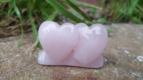 Double Polished Rose Quartz Hearts