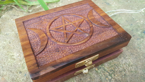Star and Moon Wooden Box
