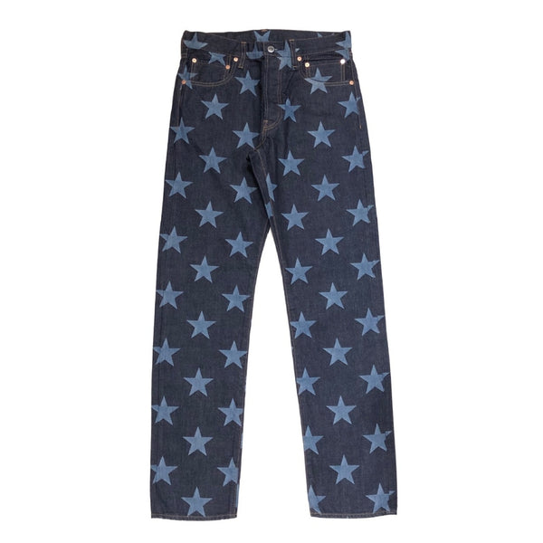 star patterned slim straight 6 pocket jean.