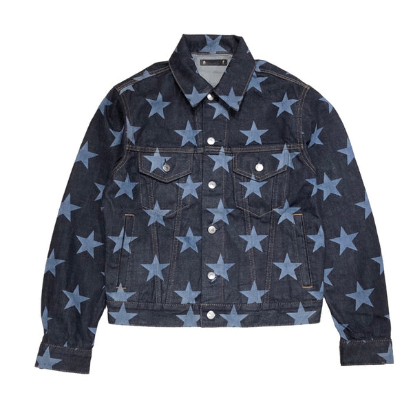 star patterned trucker jacket.