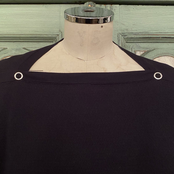 shoulder buttoned boat neck heavy thermal shirt.