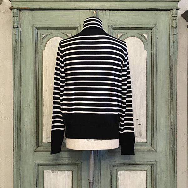 turtleneck striped sweater.