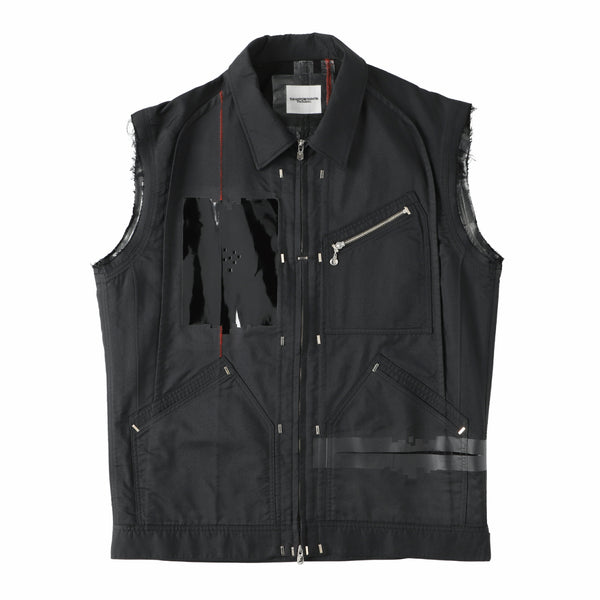 sleeveless side back zip work jacket?