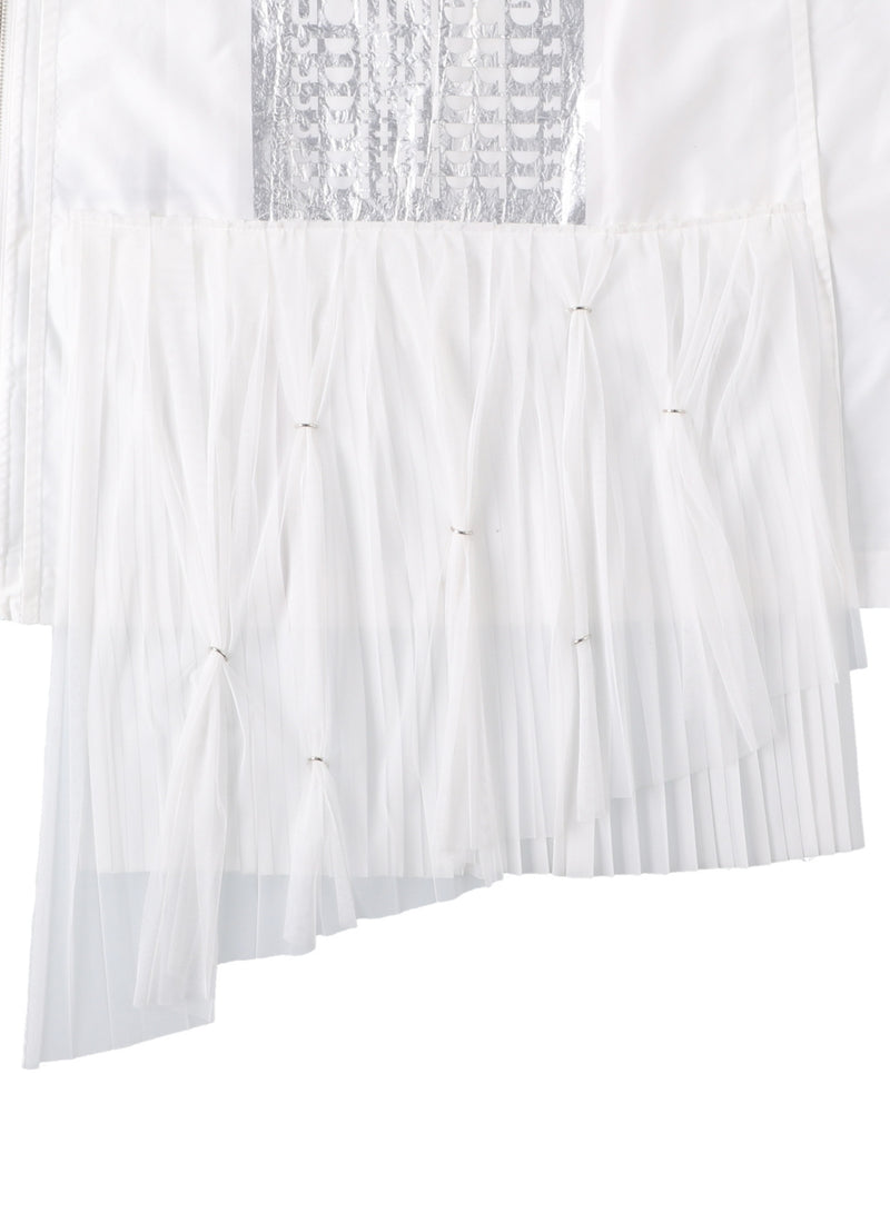 sleeveless side back zip not regular collar shirts? with lampshade chiffon tulle