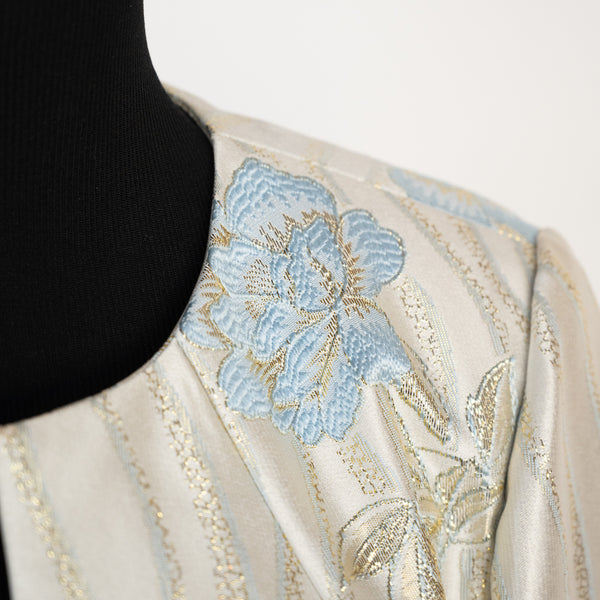 SHORT JACKET EMBROIDERED BLUE FLOWERS by GRACE CHUANG