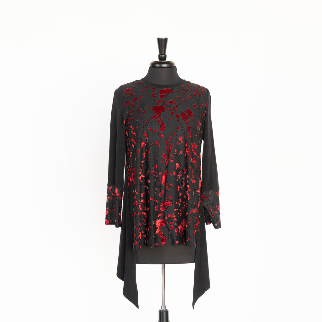TOP RED BLOSSOM BACK-ZIP BY IC COLLECTIONS