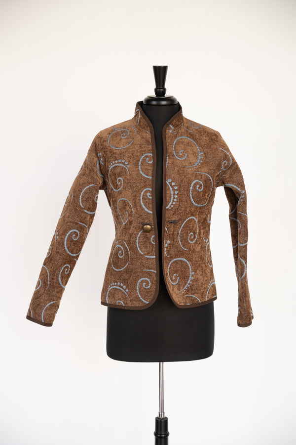 JACKET CLASSIC NAUTILUS BLUE ON BROWN REVERSIBLE BY TRIMDIN