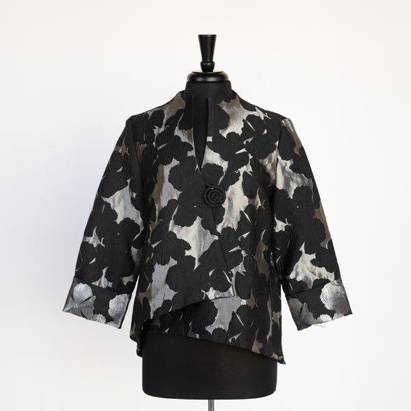 JACKET SILVER  FLOWERS ON BLACK BY IC COLLECTIONS