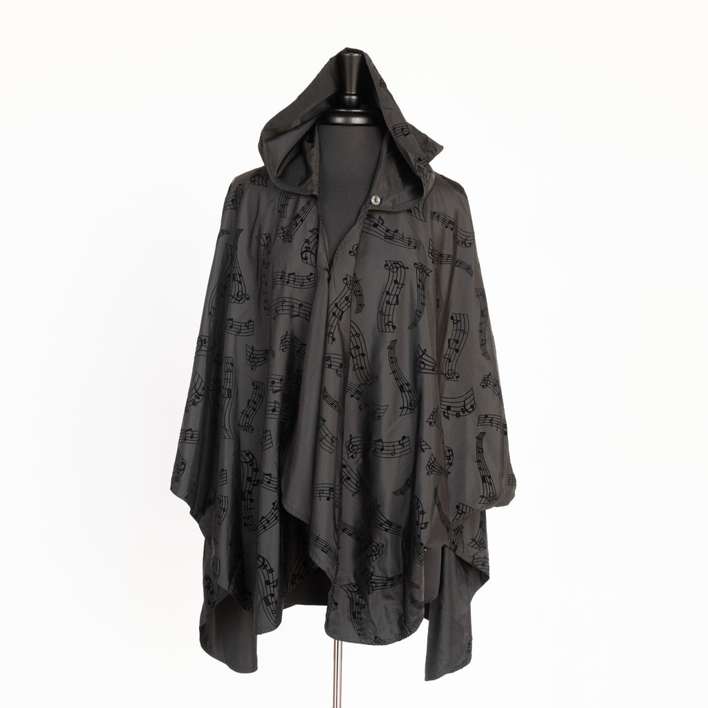hooded rain cape 'Symphony' in black