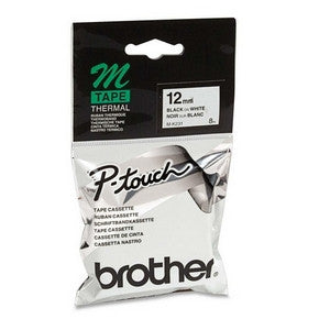 BROTHER 12MM BLK ON WHT TAPE for PT65 PT85 PT100