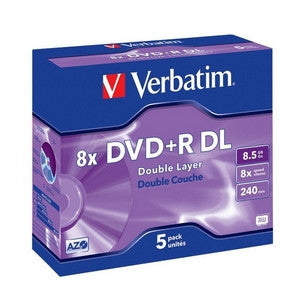 VERBATIM DVD+R DL 5pk Jewel Case - 8.5GB Double Layer 8x