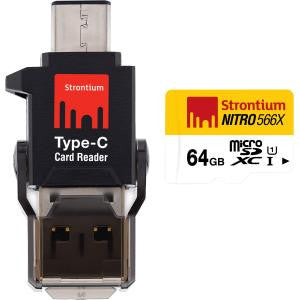 STRONTIUM TECHNOLOGY 64GB NITRO MICROSD WITH C TYPE CONNECTOR