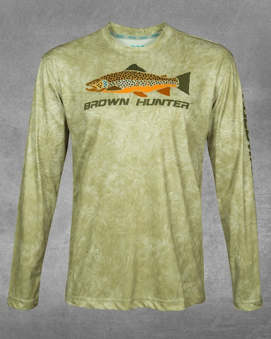 Men's River Wave Brown Hunter UPF 50+ Long Sleeve Performance Shirt
