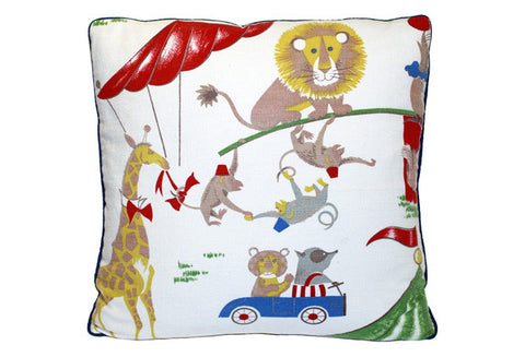 Whimsical Circus Animals Theme Pillow VPL00467