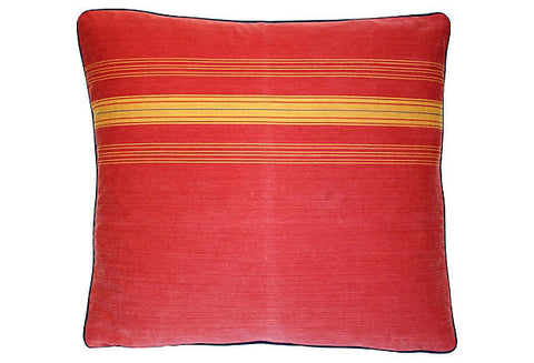 French Red & Gold Ticking Pillow VPL00335