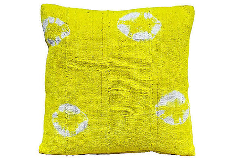African Yellow Mud Cloth Pillow