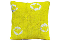 African Yellow Mud Cloth Pillow VPL00496