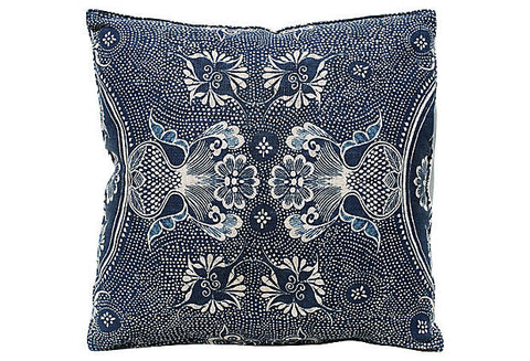 English Batik Indigo Floral Pillow VPL00493