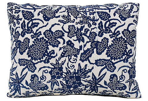Indigo Floral Butterfly Design Pillow VPL00490