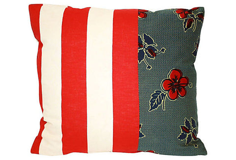 Floral & Striped Patchwork Pillow VPL00012